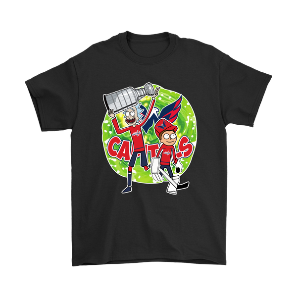 NHL - Washington Capitals Stanley Cup Rick And Morty Shirts-T-shirt-Gildan Mens T-Shirt-Black-S-Itees Global