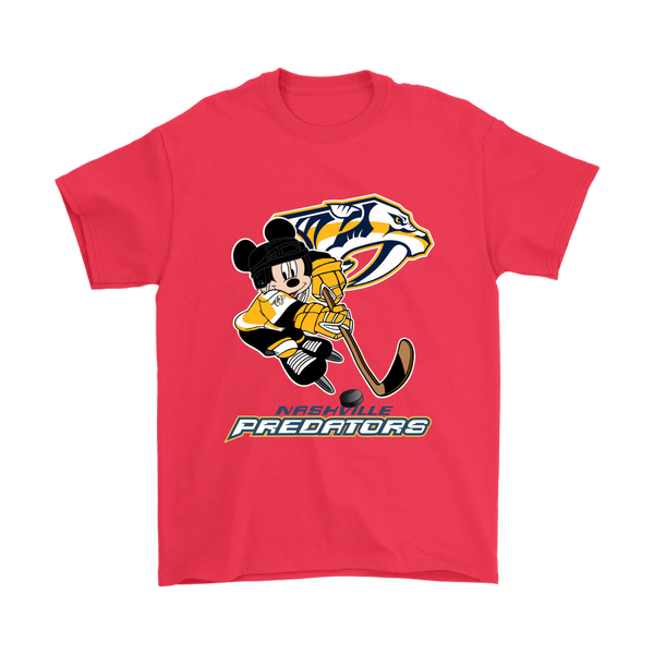 NHL – Nashville Predators Mickey Mouse Hockey Disney Shirts-T-shirt-Gildan Mens T-Shirt-Red-S-Itees Global