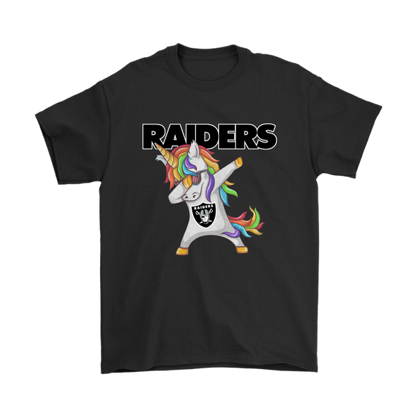 Oakland Raiders Unicorn Dabbing Football Sports Shirts-T-shirt-Gildan Mens T-Shirt-Black-S-Itees Global