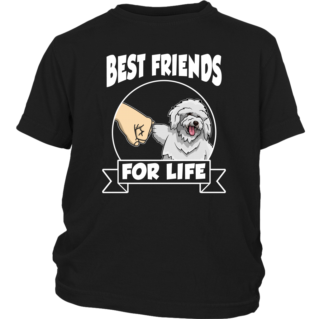 Bichon Frise Best Friends For Life Dog Shirts-T-shirt-District Youth Shirt-Black-XS-Itees Global