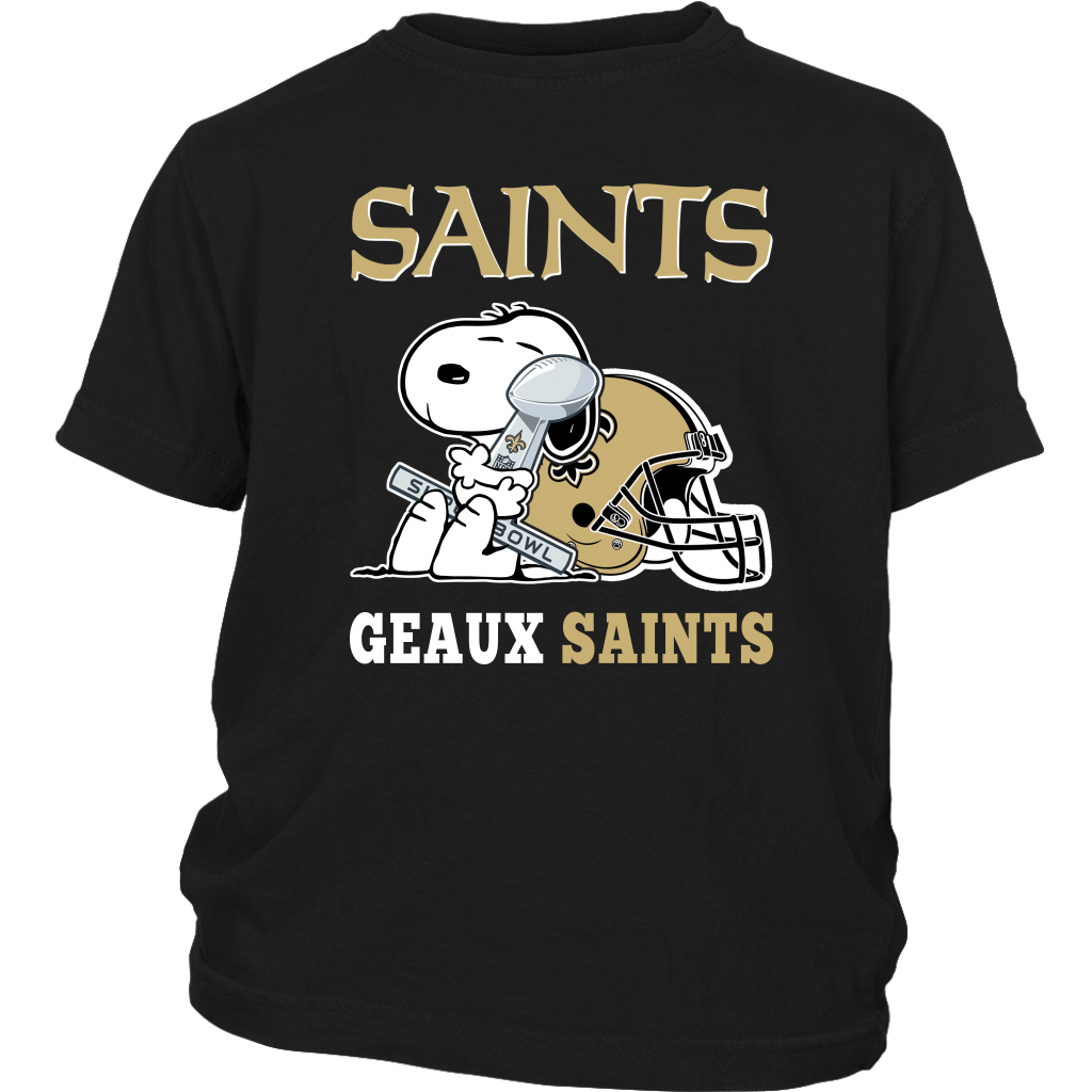 NFL – Geaux New Orleans Saints Super Bowl 2019 Snoopy Football Shirts-T-shirt-District Youth Shirt-Black-XS-Itees Global