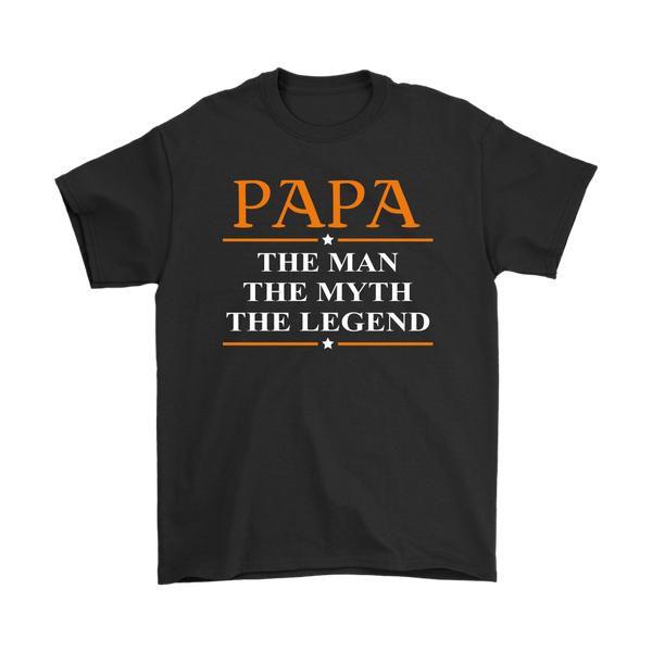 Papa The Man The Myth The Legend Family Shirts-T-shirt-Gildan Mens T-Shirt-Black-S-Itees Global