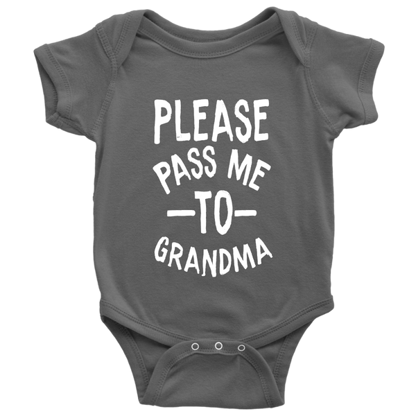 Please Pass Me To Grandma Shirts-T-shirt-Baby Bodysuit-Asphalt-NB-Itees Global