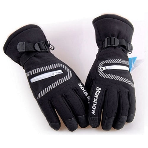 High Quality Ski Gloves Waterproof Warm Unisex Hockey Gloves Winter Outdoor Sport Mountain Skiing Snowboard Gloves for Women Kid-Accessories-Black-S-Itees Global