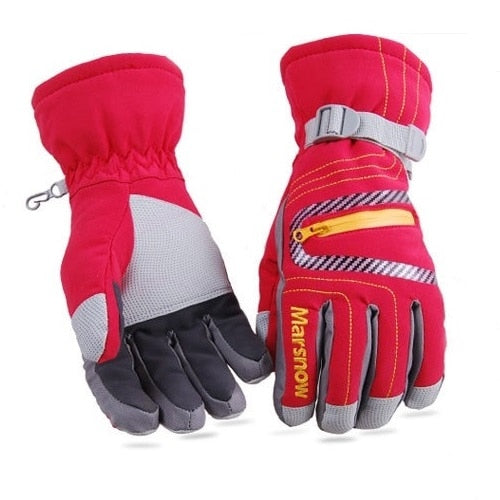 High Quality Ski Gloves Waterproof Warm Unisex Hockey Gloves Winter Outdoor Sport Mountain Skiing Snowboard Gloves for Women Kid-Accessories-Red-S-Itees Global