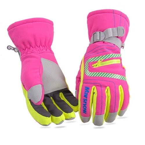 High Quality Ski Gloves Waterproof Warm Unisex Hockey Gloves Winter Outdoor Sport Mountain Skiing Snowboard Gloves for Women Kid-Accessories-Rose Red-S-Itees Global