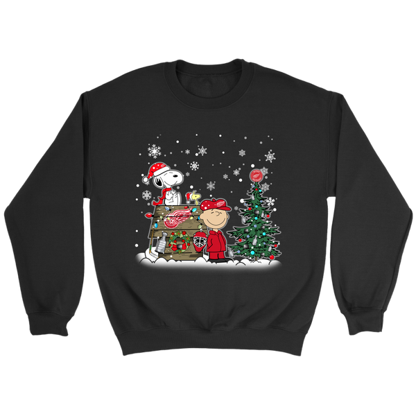 NHL – Detroit Red Wings Snoopy The Peanuts Movie Christmas Hockey Stanley Cup Sweatshirt-T-shirt-Crewneck Sweatshirt-Black-S-Itees Global