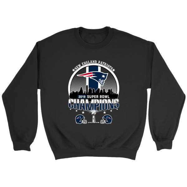 NFL – New England Patriots 2019 Super Bowl Champions Football Shirts-T-shirt-Crewneck Sweatshirt-Black-S-Itees Global