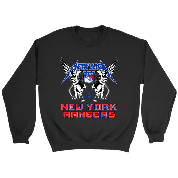 NHL - New York Rangers Metallica Heavy Metal Hockey Sweatshirt-T-shirt-Crewneck Sweatshirt-Black-S-Itees Global