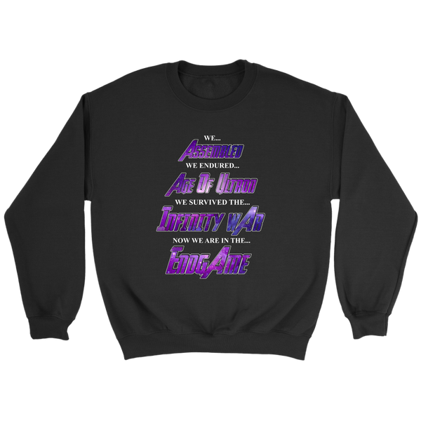 We Assembled We Endured Age Of Ultron We Survived The Infinity War Now We Are In The Endgame Sweatshirt-T-shirt-Crewneck Sweatshirt-Black-S-Itees Global