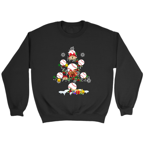 Christmas Is Coming Baseball Santa Claus Sweatshirt-T-shirt-Crewneck Sweatshirt-Black-S-Itees Global