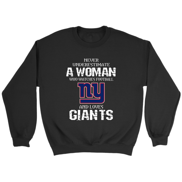 NFL - Never Underestimate A Woman Who Watches Football And Loves New York Giants Sweatshirt-T-shirt-Crewneck Sweatshirt-Black-S-Itees Global