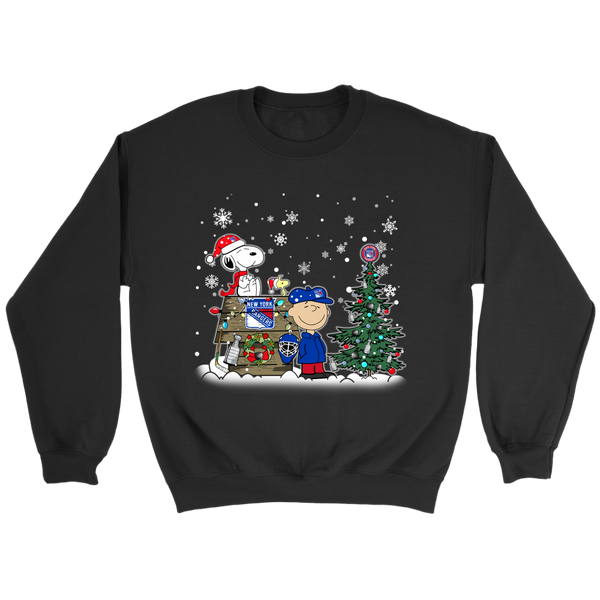NHL – New York Rangers Snoopy The Peanuts Movie Christmas Hockey Stanley Cup Sweatshirt-T-shirt-Crewneck Sweatshirt-Black-S-Itees Global