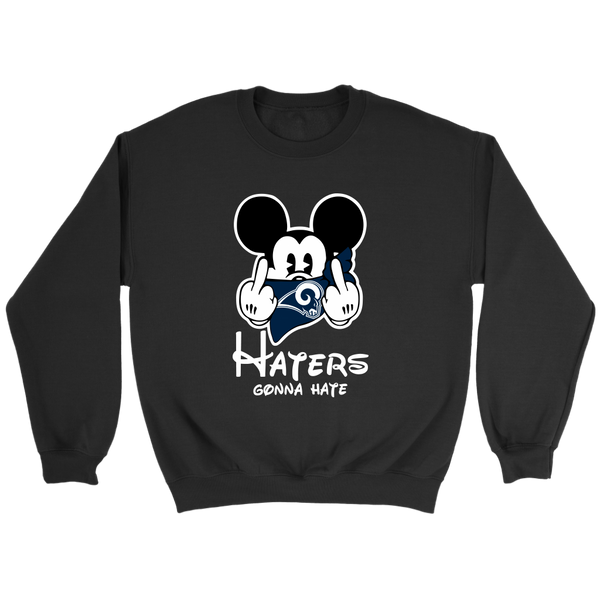 NFL – Los Angeles Rams Mickey Mouse Haters Gonna Hate Football Shirts-T-shirt-Crewneck Sweatshirt-Black-S-Itees Global