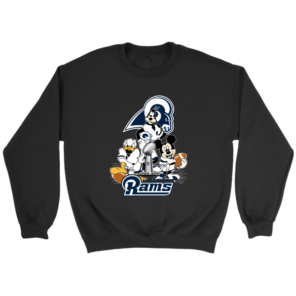 NFL – Los Angeles Rams Donald Duck Goofy Mickey Mouse Super Bowl 2019 Football Shirts-T-shirt-Crewneck Sweatshirt-Black-S-Itees Global