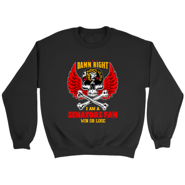 NHL – Damn Right I Am A Ottawa Senators Fan Win Or Lose Hockey Sweatshirt-T-shirt-Crewneck Sweatshirt-Black-S-Itees Global