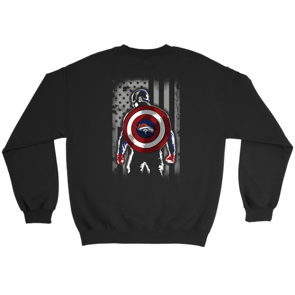 NFL - Denver Broncos Captain America Marvel Football American Flag Sweatshirt-T-shirt-Crewneck Sweatshirt-Black-S-Itees Global
