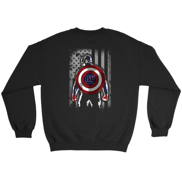 NFL - New York Giants Captain America Marvel Football American Flag Sweatshirt-T-shirt-Crewneck Sweatshirt-Black-S-Itees Global