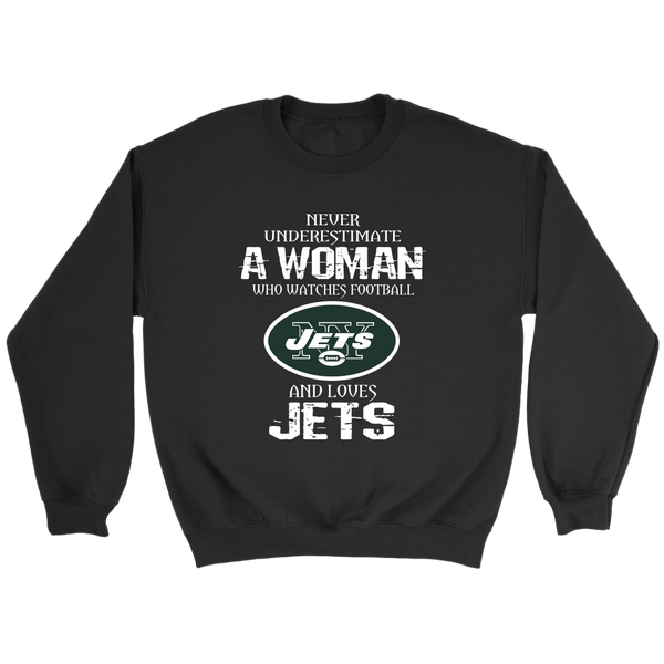 NFL - Never Underestimate A Woman Who Watches Football And Loves New York Jets Sweatshirt-T-shirt-Crewneck Sweatshirt-Black-S-Itees Global
