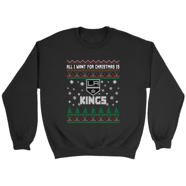 NHL - All I Want For Christmas Is Los Angeles Kings Hockey Shirts-T-shirt-Crewneck Sweatshirt-Black-S-Itees Global