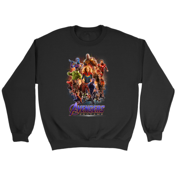 Avengers : Endgame Marvel Thanos Thor Vision Captain America Sweatshirt-T-shirt-Crewneck Sweatshirt-Black-S-Itees Global
