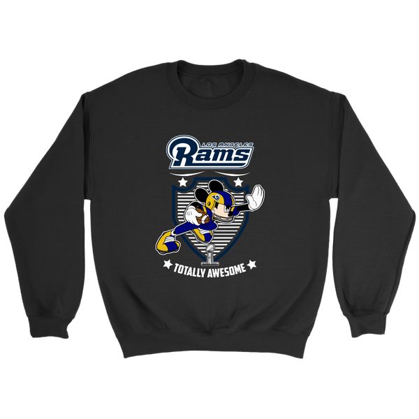 NFL – Los Angeles Rams Totally Awesome Mickey Mouse Super Bowl 2019 Football Shirt-T-shirt-Crewneck Sweatshirt-Black-S-Itees Global