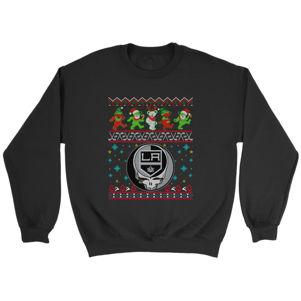 NHL - Los Angeles Kings Christmas Grateful Dead Jingle Bears Hockey Ugly Sweatshirt-T-shirt-Crewneck Sweatshirt-Black-S-Itees Global