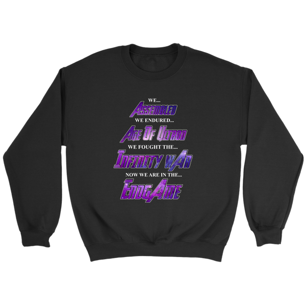 We Assembled We Endured Age Of Ultron We Fought The Infinity War Now We Are In The Endgame Sweatshirt-T-shirt-Crewneck Sweatshirt-Black-S-Itees Global