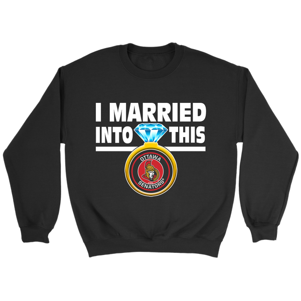 NHL - I Married Into This Ottawa Senators Hockey Sweatshirt-T-shirt-Crewneck Sweatshirt-Black-S-Itees Global