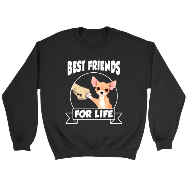 Chihuahua Best Friends For Life Shirts-T-shirt-Crewneck Sweatshirt-Black-S-Itees Global