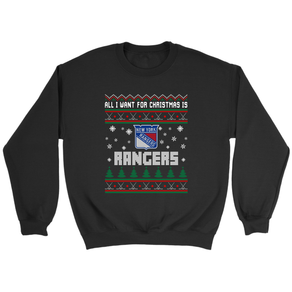 NHL - All I Want For Christmas Is New York Rangers Hockey Shirts-T-shirt-Crewneck Sweatshirt-Black-S-Itees Global