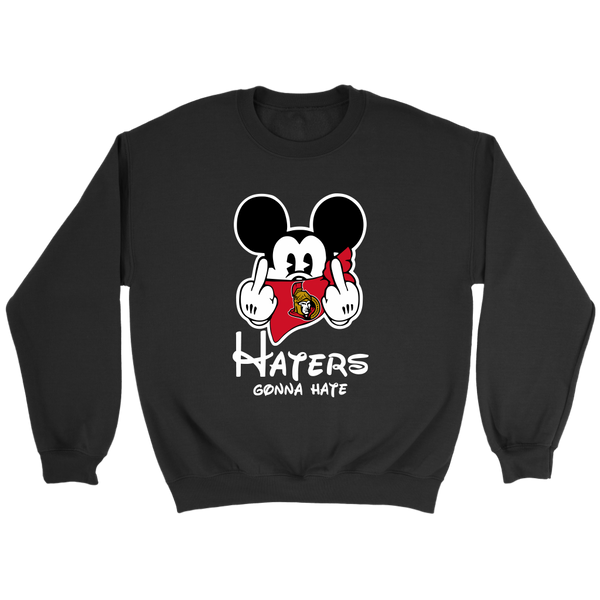 NHL – Ottawa Senators Mickey Mouse Haters Gonna Hate Hockey Shirts-T-shirt-Crewneck Sweatshirt-Black-S-Itees Global