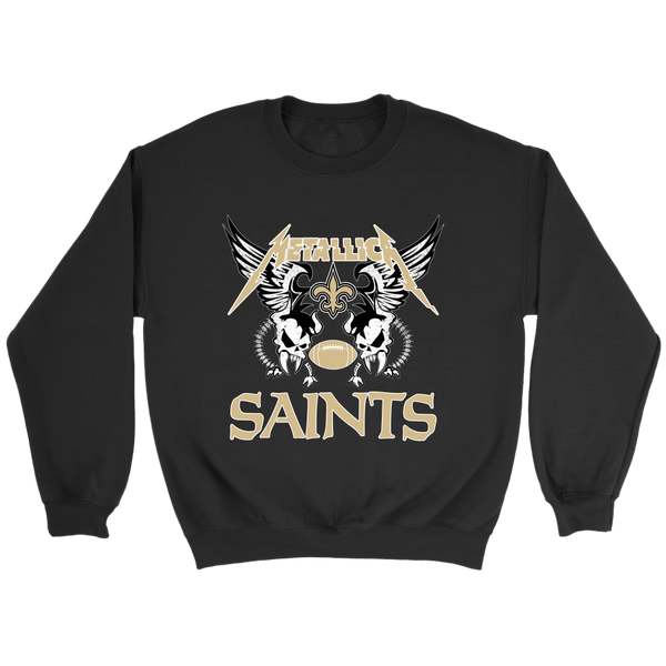 NFL - New Orleans Saints Metallica Heavy Metal Football Sweatshirt-T-shirt-Crewneck Sweatshirt-Black-S-Itees Global