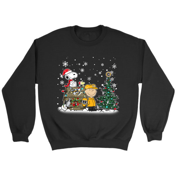 NHL – Nashville Predators Snoopy The Peanuts Movie Christmas Hockey Stanley Cup Sweatshirt-T-shirt-Crewneck Sweatshirt-Black-S-Itees Global