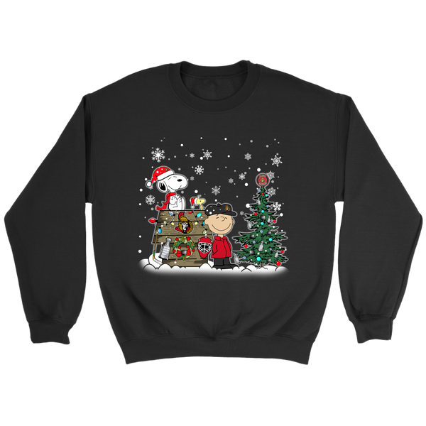 NHL – Ottawa Senators Snoopy The Peanuts Movie Christmas Hockey Stanley Cup Sweatshirt-T-shirt-Crewneck Sweatshirt-Black-S-Itees Global