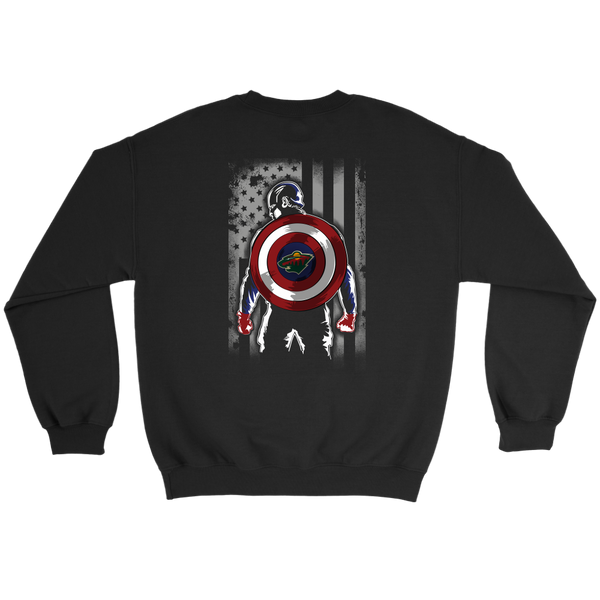 NHL - Minnesota Wild Captain America Marvel Hockey American Flag Sweatshirt-T-shirt-Crewneck Sweatshirt-Black-S-Itees Global