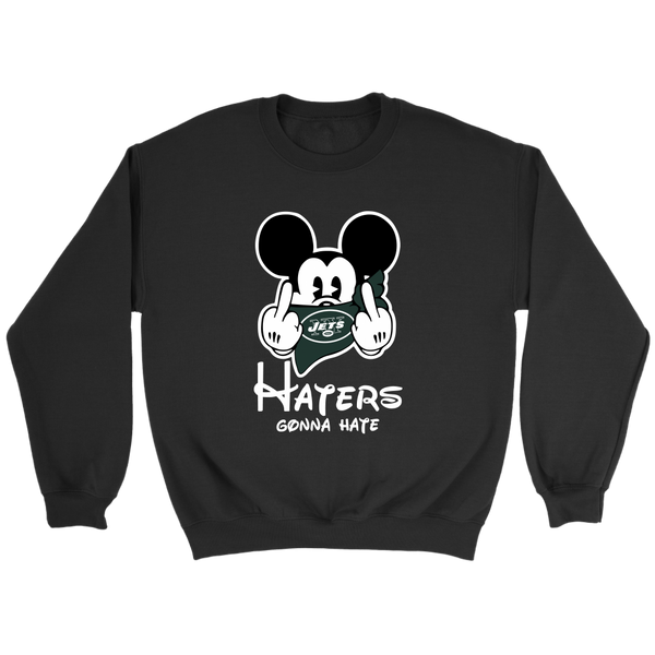 NFL – New York Jets Mickey Mouse Haters Gonna Hate Football Shirts-T-shirt-Crewneck Sweatshirt-Black-S-Itees Global