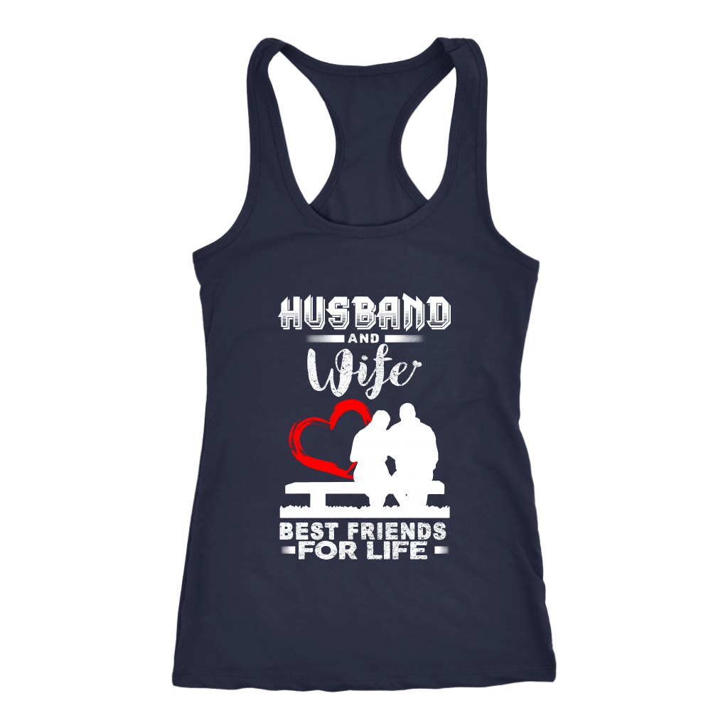 Husband And Wife Best Friends For Life Valentine's Day Couple Shirts-T-shirt-Next Level Racerback Tank-Navy-XS-Itees Global