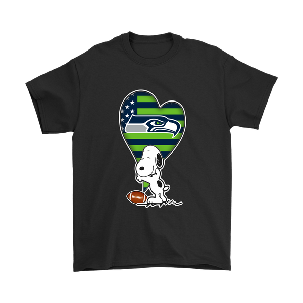 Seattle Seahawks Snoopy Football Sports Shirts-T-shirt-Gildan Mens T-Shirt-Black-S-Itees Global