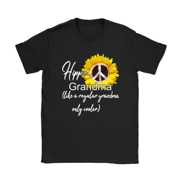 Sunflower Hippie Grandma Like A Regular Grandma Only Cooler Shirts-T-shirt-Gildan Womens T-Shirt-Black-S-Itees Global