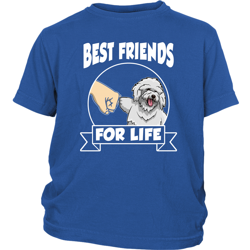 Bichon Frise Best Friends For Life Dog Shirts-T-shirt-District Youth Shirt-Royal Blue-XS-Itees Global