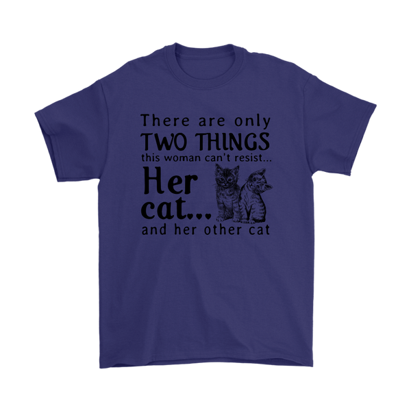 This Woman Can't Resist Her Cat And Her Other Cat Shirts-T-shirt-Gildan Mens T-Shirt-Purple-S-Itees Global