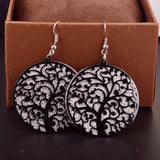 Round Life Tree Hollow Out Earrings for Women