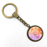 Glass Mandala Key Chain