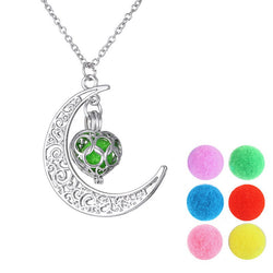 Silver Moon Heart Aromatherapy Pendant & Necklace