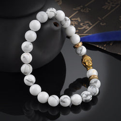 White Marbled Prayer Beads or Mala Bracelet