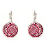 Spiral Mandala Glass Earrings