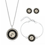 Om Symbol Stud Earrings & Silver Chain Necklace plus Bracelet Set