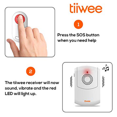 Tiiwee Emergency Button - Personal SOS Pager for Home Patients, Elderly People - Vibrating Alarm, Audio and Red Light Alarm, 58 Alarm Buzzer - 75m Wireless Range, Battery Operated, with Belt Clip