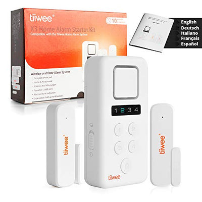 tiiwee X3 Home Alarm System Wireless Kit - Complete DIY Alarm System with X3 siren, 2 Window Door Sensors - Window Alarm Door Alarm - Secured by 4-digit PIN code - 2 Year Warranty